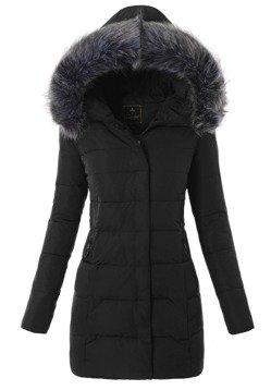 Czarna Kurtka Ortalionowa na Zimę - 17-519